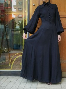 OSSIE CLARK.~MOSS CREPE DRESS~